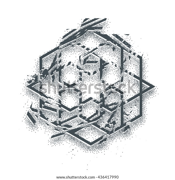 Abstract background with traditional ornament. Vector Tattoo styled illustration, dotwork,