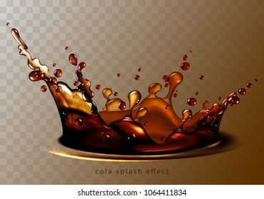 Abstract background with transparent cola splash, high detailed realistic illustration