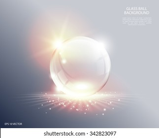 Abstract background. Transparent glass sphere on sunrise. Ball with soft spotlight