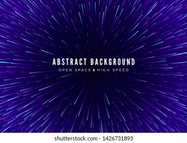 Abstract background travel through time and space. Futuristic neon poster. Trendy music banner template. Vector
