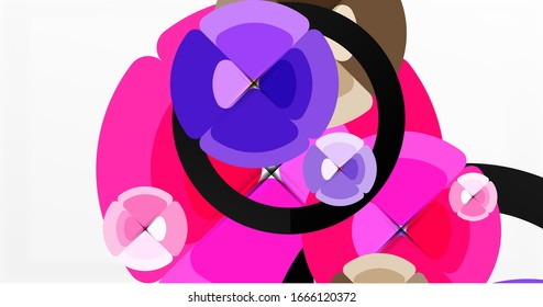 Abstract background, trendy color circles geometrical composition. Vector Illustration For Wallpaper, Banner, Background, Card, Book Illustration, landing page