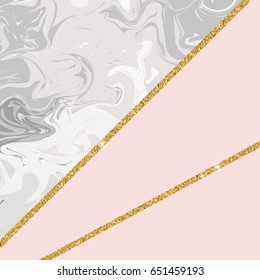 Abstract background with trendy marble and gold glitter lines