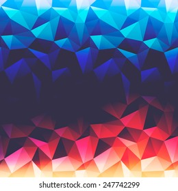 Abstract background with triangles and glowing light from up and down