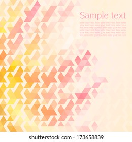 abstract background of the triangles. pink, yellow color. space for text. light background