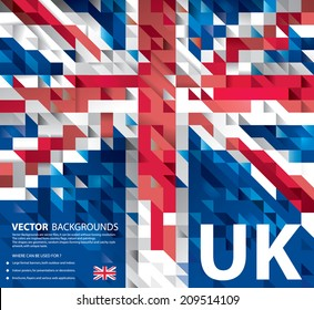 Abstract Background UK Flag, United Kingdom Polygon art (Vector Art)