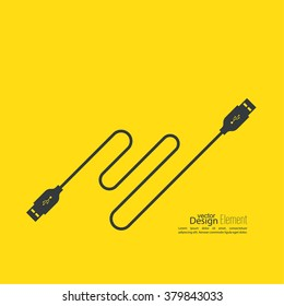 Abstract background with usb cable. Vector.