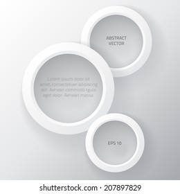 Abstract background with vector design elements of rings. Vector  background rings. Vector bubble, element design. Abstract  white background. White rings.