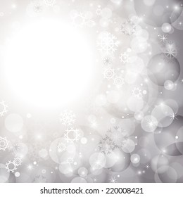 Abstract Background - Vector Illustration, Graphic Design Useful For Your Design. Bright Christmas Background With Snowflakes