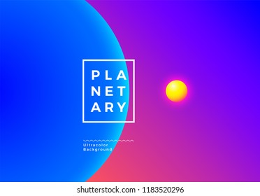 Abstract background with vibrant colorful planets in space with ultra colors