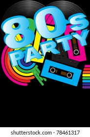 Abstract Background - Vintage Vinyl Records, Audio Tapes and 80s Party Sign