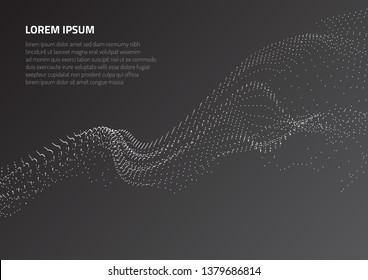 Abstract background with volumetric forms of particles. Particle oscillation and motion of waves in space.