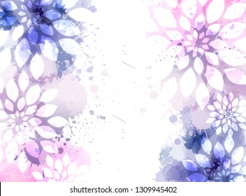 Abstract background with watercolor colorful splashes and flowers. Purple and pink colored. Template for your designs, such as wedding invitation, greeting card, posters, etc.