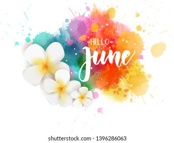Abstract background with watercolor colorful splashes and frangipani (plumeria) flowers. Hello June handwritten modern calligraphy lettering. Summer concept background.