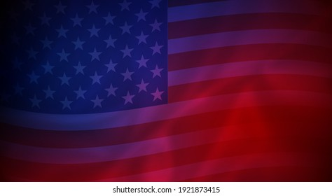 Abstract background of wavy American flag - vector illustration