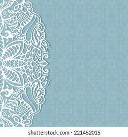 Abstract background, wedding invitation or greeting card design with lace pattern, beautiful luxury postcard, ornate page cover, ornamental vector illustration