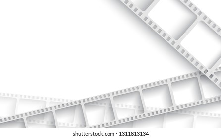 Abstract background with white film strip frame. Cinema festival poster or flyer template for your design. Movie time at the cinema concept. 3d isometric style. EPS 10 Vector illustration.