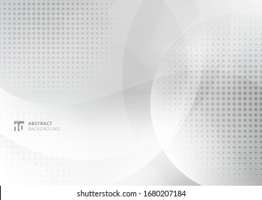 Abstract background white and gray curve circle with haltone. Vector illustration