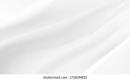Abstract background white satin or liquid wave or wavy folds. EPS 10 Vector.