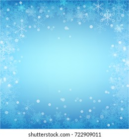 Abstract background winter snow flake falling and lighting over blue abstract background for winter celebration and christmas promotion template vector illustration