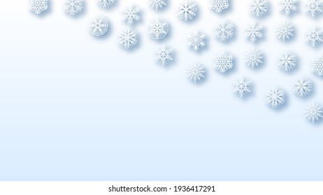 Abstract Background Winter With Snowflakes Shadows Vector Design Style Template