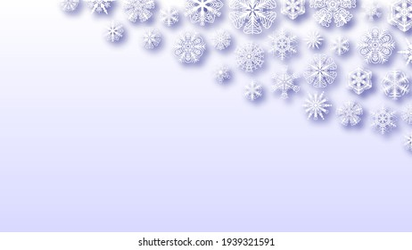 Abstract Background Winter Snowflakes With Shadows Vector Design Style Template