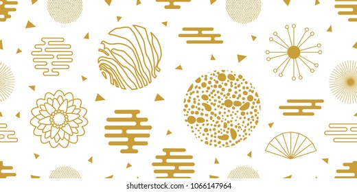 Abstract background witi Chinese motifs. Seamless white and golden pattern with ornate circles, flowers and other geometric elements.