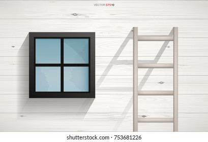 Abstract background of wooden Ladder and square window on wooden wall texture with horizontal slats wood wall of house. Vector illustration.