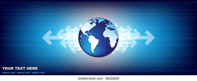 Abstract background with world map and arrows