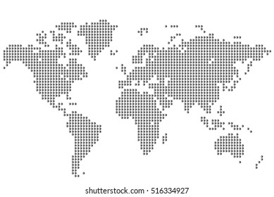 Abstract background. World map of round dots. Vector illustration.