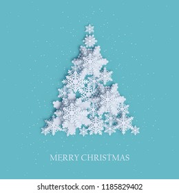 Abstract background with xmas tree made of volumetric paper snowflakes. White 3D snowflakes with shadow. Xmas and new year card template. Winter paper art design