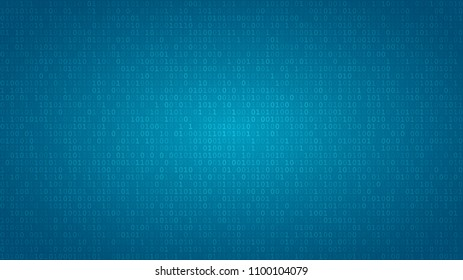 Abstract background of zeros ad ones in light blue colors.