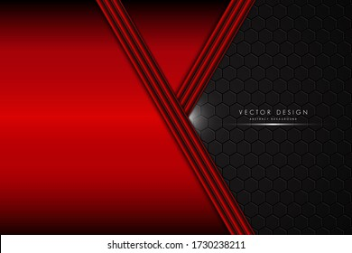 Abstract background.Metallic of red with polygon.Dark space technology concept.Vector illustration.Eps10