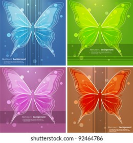 Abstract backgrounds with butterfly. Vector illustration.