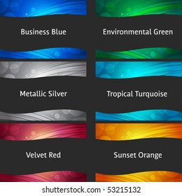 Abstract backgrounds collection - for header and footer ready to use - blue, green, silver, metallic, red, orange