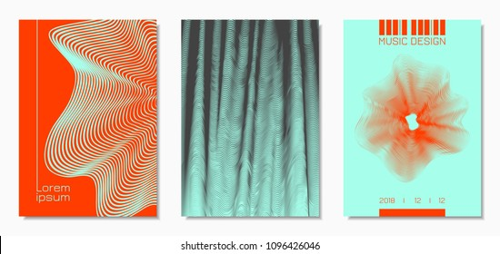 Abstract Backgrounds with Distorted Flow Lines and Text. Cover Design Templates Set with Wavy Stripes in Modern Style. Movement. Trendy Covers for Brochure, Magazine, Presentation, Music Poster, Book.