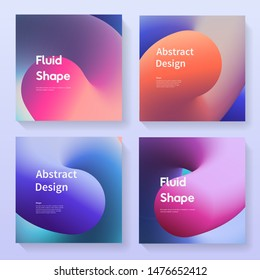 Abstract backgrounds set. Covers with gradient colorful shapes. Fluid futurisic backdrops collection vector design.
