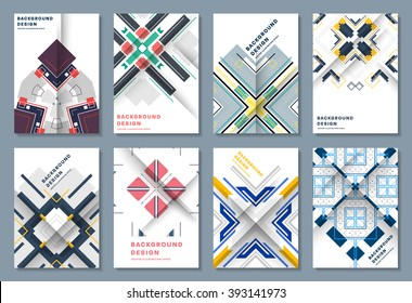 Abstract Backgrounds Set. Geometric Shapes and Frames for Presentation, Annual Reports, Flyers, Brochures, Leaflets, Posters, Business Cards and Document Cover Pages Design. A4 Title Sheet Template.
