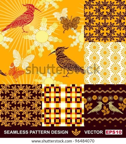 Abstract Backgrounds Set Seamless Fashion Patterns Vector Wallpapers Graphic Flowers Bird