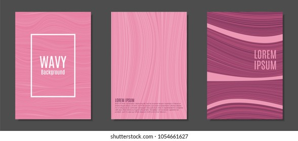 Abstract Backgrounds with Wavy Lines in Hipster Style. Trendy Covers Design for Catalog, Folder, Brochure, Poster, Magazine, Banner, Book. Covers Templates Set with Wavy Stripes Lines and Text