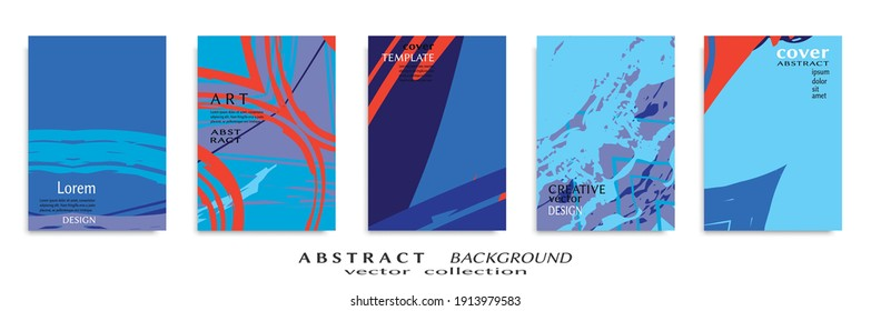 Abstract backgrouns set, grunge texture. Minimalistic art, brush strokes style. Design for card, brochure, banner idea, book cover, booklet print, flyer sheet a4. Collage page, web header template.