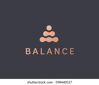 Abstract balance vector logo design template. Spa harmony minimal logotype.