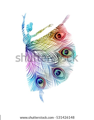 Abstract ballerina with peacock feathers. Vector isolated colorful silhouette.