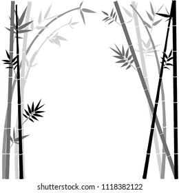 Abstract bamboo branches silhouettes with leaves illustration.