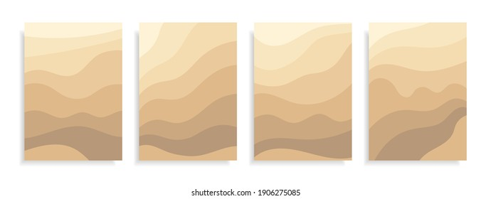 Abstract banner art background sand on beach,coast or desert with barchan and dunes beige color.Template card Sand texture with pattern wavy lines.Frames for text.Great for covers,fabric prints.Vector