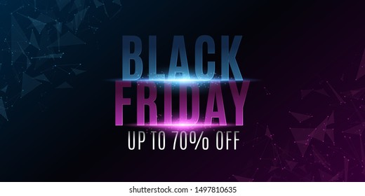 Abstract banner for black friday. Grand sale. Glowing plexus triangles. Modern design for your business project. Stylish glowing text with flashes. Vector illustration. EPS 10