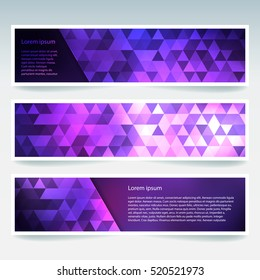 Abstract banner with business design templates.  Set of Banners with polygonal mosaic backgrounds. Geometric triangular vector illustration. Pink, purple colors