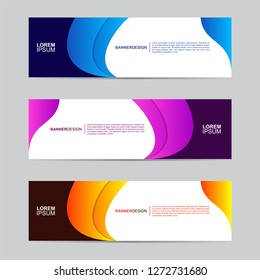 Abstract banner collection with modern style, gradient color, horizontal business banner template with geometric shapes, business concept background vector illustration.