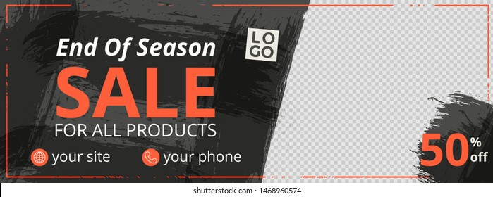 Abstract banner design for ads, banner social media, banner fashion sale with black background