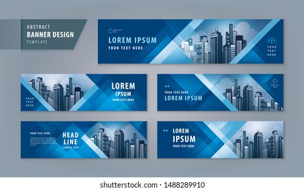 Abstract banner design web template Set, Horizontal header web banner. Modern Geometric Blue Triangle cover header background for website design, Social Media Cover ads banner, flyer, invitation card