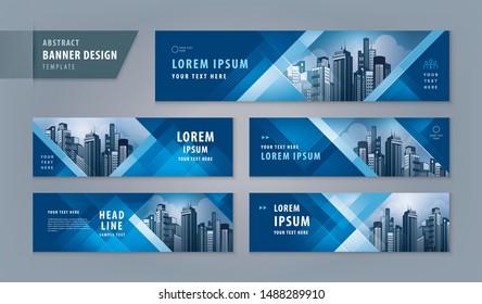 Abstract banner design web template Set, Horizontal header web banner. Modern Geometric Blue Triangle cover header background for website design, Social Media Cover ads banner, flyer, invitation card - Shutterstock ID 1488289910